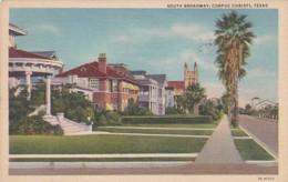 Texas Corpus Christi South Broadway Residential Scene 1949 Curteich - Corpus Christi