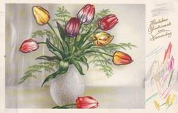AK Vase Mit Tulpen - Blumen - Glückwunsch Zum Namenstag - 1958 (37997) - Blumen