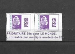 ****  Y & T  Marianne L'Engagée Bande En Bas 2 Timbres Monde   26/58 - 2018-... Marianne L'Engagée