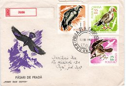 ROMANIA  Vulture, Eagle  FDC, Registered Mail  /  ROUMANIE  Vautour, L`aigle, Lettre De Première Jour, Recomandée,  1967 - Adler & Greifvögel