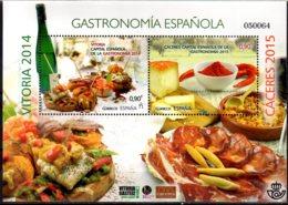 2015 Spain - Gastronomia Of Spain - Vitoria 2014 And Caceres 2015 MS MNH** Mi B 263 Wine, Cheese, Hamon, Tapas (zz) - Ernährung