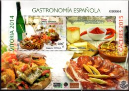 2015 Spain - Gastronomi Of Spain - Vitoria 2014 And Caceres 2015 MS MNH** Mi B 263 Wine, Cheese, Hamon, Tapas (zz) - Wein & Alkohol
