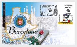 2017 Spain - Provinces -Barcelona FDC -  Church La Granda Familia By Gaudi, Roses, Book, Coat Of Arms   (zz) - 1931-Today: 2nd Rep - ... Juan Carlos I