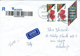 Bosnia And Herzegovina R - Letter Via Macedonia 2017 - Motive Stamps Fruits/Berries/2015 Bosnian Handcrafts - Rug Design - Bosnia And Herzegovina