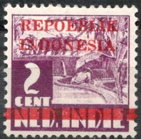 Repoeblik Indonesia With Broad Line Overprint On 2 Ct , Red Overprint - Indes Néerlandaises