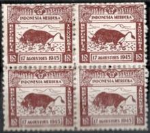 Repoeblik Indonesia 1945 Merdeka 10+10 Sen 4-block - Indes Néerlandaises