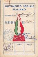 POLITICA / TESSERA PARTITO _ MOVIMENTO SOCIALE  ITALIANO 1949 - Sez. Montemaggiore Belsito (PA) - Vecchi Documenti