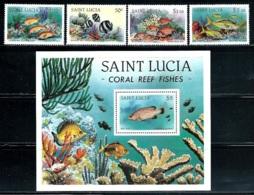 "St. Lucia    ""Coral Reef Fish""      Set  & Souvenir Sheet      SC# 612-16   MNH - St.Lucia (1979-...)"
