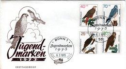 GERMANY  FDC, Eagle, Falcon   /  ALLEMAGNE, Lettre De Première Jour, L`aigle, Faucon, 1973 - Adler & Greifvögel