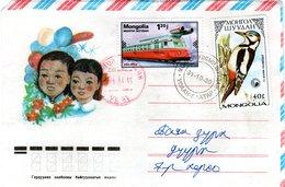 MONGOLIA, Letter,  Woodpecker   /  MONGOLIE, Lettre, Pic  1991 - Climbing Birds