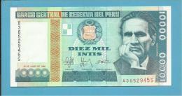PERU - 10 000 INTIS - 28.06.1988 - Pick 140 - UNC. - CESAR VALLEJO - 2 Scans - Pérou