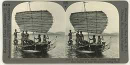 Indonesia Papua New Guinea ~ NATIVES IN CATAMARAN OUTRIGGER SAILBOAT ~ Stereoview 24201 1026 - Stereoscopic