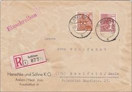 Einschreiben Aus Anklam Nach Saalfeld 1947 - Zone AAS