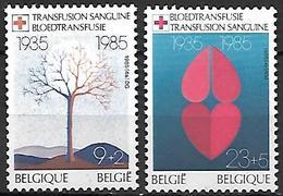 BELGIQUE   -  1985  .  Y&T N° 2161 / 2162 *.   Croix-Rouge  /  Transfusion Sanguine  /  Coeur. - Bélgica