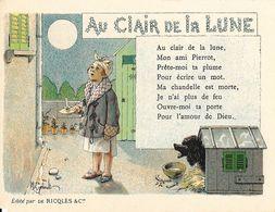 Lot De 3 Chromos Alcool De Mente Ricqlès: Chansons La Polichinelle, Au Clair De La Lune, Papa Les P'tits Bateaux - Cromo