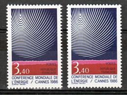 France 2445 A Variété Gomme Tropicale  Et Normal Conférence De L'énergie Neuf ** TB MNH Sin Charnela - Variétés Et Curiosités
