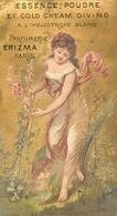 RARE CARTE PARFUMEE ANCIENNE - ERIZMA - PARFUMERIE ERIZMA PARIS - ESSENCE à L' HELIOTROPE BLANC - Perfume Cards