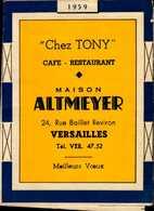 "CALENDRIER 1959..""CHEZ TONY""  MAISON ALTMEYER A VERSAILLES... - Calendriers"