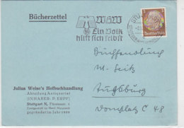 Bücherzettel Aus STUTTGART 2.12.38 Von Buchhandlung Weise - Germania