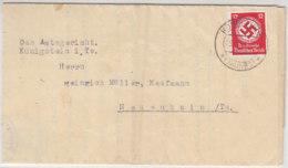 Dienstbrief Aus KÖNIGSTEIN Ts. 9.9.34 Nach Neuenhain Ts. Mit Vignette Auf Der Rückseite - Servizio