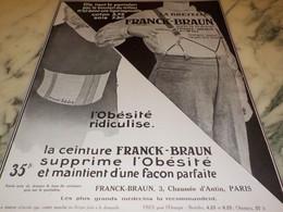ANCIENNE PUBLICITE CEINTURE BRETELLE DE FRANCK ET BRAUN  1912 - Affiches