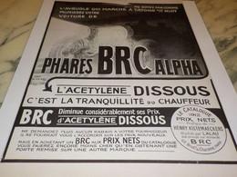 ANCIENNE PUBLICITE PHARES BRC ALPHA   1912 - Transports