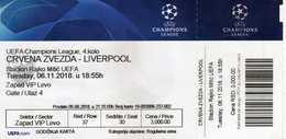 UEFA Champions League - Football Mach - Crvena Zvezda Vs Liverpool - Tickets D'entrée