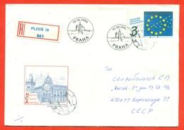 Charlie Chaplin. Czechoslovakia 1990. Registered Envelope Passed Mail. FDC. - Cinema