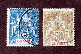 Guyane N°46,47 Oblitérés TB Cote 52 Euros !!!RARE - Guyane Française (1886-1949)