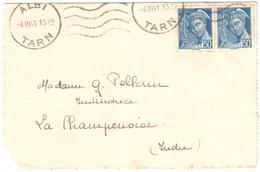 ALBI Tarn Ob 4 3 1941 Carte Lettre 50c Mercure Bleu Yv 414A - France