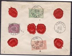 N°64 1 Francs   , 53 Et 57 / Lettre Assurée ( 7000 Fb) De Tongres Vers Hasselt 11 Aout 1898  ( Lsc )  Double Port - 1893-1900 Barba Corta