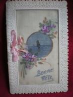 CARTE BRODÉE (peinte) - Bonne Fête,paysage Fleurs. - Ricamate