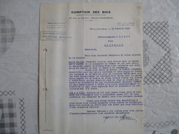 NEUILLY SUR SEINE COMPTOIR DES BOIS 32 RUE DU CHATEAU COURRIER DU 15 FEVRIER 1939 - France