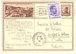 POST CARD Stationnary Bains D'Ocna Sibilului Ob 7 10 1939 To France Montfort Le Rotrou Sarthe - Briefe U. Dokumente
