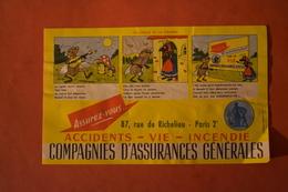 BUVARD PUBLICITAIRE / LA CIGALE ET LA FOURMI / COMPAGNIES ASSURANCES GÉNÉRALES - Banque & Assurance