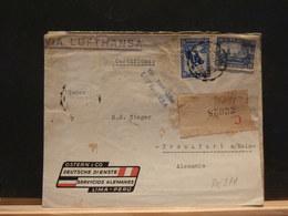 80/977 LETTRE RECOMM. PERU  1936 POUR  ALLEMAGNE - Perú