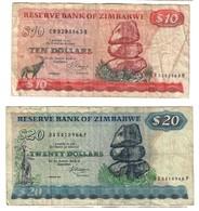 Zimbabwe Lot Set 10 & 20 Dollars 1983 - Zimbabwe
