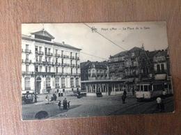 Heyst S/Mer Place De La Gare Tram Animee - Cartes Postales