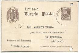 ESPAÑA ENTERO POSTAL CERVANTES SAN FELIU DE GUIXOLS GERONA A LA JUNQUERA AGUJEROS ARCHIVO - Enteros Postales