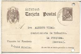 ESPAÑA ENTERO POSTAL CERVANTES SAN FELIU DE GUIXOLS GERONA A LA JUNQUERA AGUJEROS ARCHIVO - 1850-1931