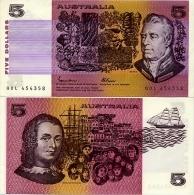 AUSTRALIA       5 Dollars       P-44e       ND (1985)       UNC - 1974-94 Australia Reserve Bank