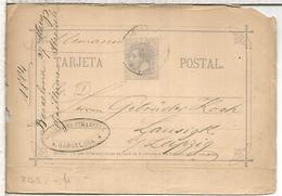 ESPAÑA ENTERO POSTAL ALFONSO XII BARCELONA A LEIPZIG ALEMANIA 1884 - 1850-1931