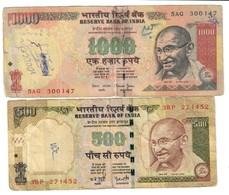 India Lot Set 500 & 1000 Rupees - India