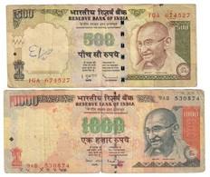 India Lot Set 500 & 1000 Rupees - Inde
