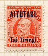 OCEANIE - AITUTAKI - (Dépendance Néo-Zélandaise) - 1912-15 - N° 11 - Tai Tiringi S. 1 S. Vermillon - (Nelle Zélande) - Aitutaki