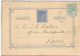 ESPAÑA ENTERO POSTAL ALFONSO XII CORUÑA A PARIS 1881 FRANQUEO ADICIONAL - 1850-1931