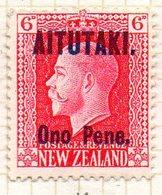 OCEANIE - AITUTAKI - (Dépendance Néo-Zélandaise) - 1916 - N° 12 - Ono Pene S. 6 P. - (Nelle Zélande) - Aitutaki