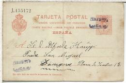 ESPAÑA ENTERO POSTAL ALFONSO XIII LUCENI A ZARAGOZA MAT CARTERIA RICLA ? 1920 DOBLEZ SERIE J - 1850-1931
