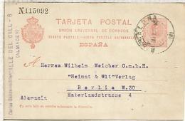 ESPAÑA ENTERO POSTAL ALFONSO XIII BARCELONA A BERLIN 1912 - 1850-1931