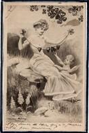 ANGE - ANGELOT - ANGEL - ILLUSTRATEUR SIGNE - FEMME - MODE - ROBE - CHAMPIGNONS - COEUR - COEURS - 1904 - Anges